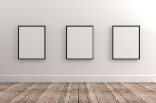 blank posters on a wall