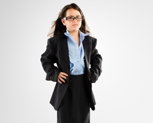 Girl dressed as a business women